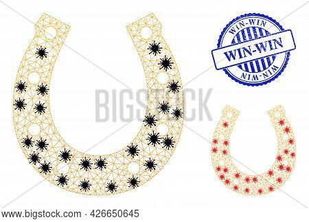 Mesh Polygonal Lucky Horseshoe Icons Illustration In Infection Style, And Scratched Blue Round Win-w
