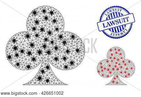 Mesh Polygonal Playing Card Club Suit Symbols Illustration With Infection Style, And Scratched Blue