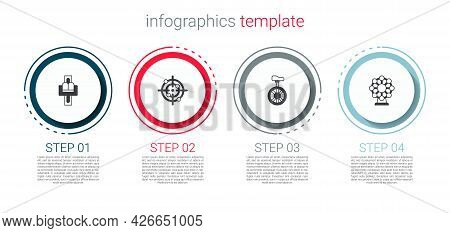 Set Attraction Carousel, Target Sport, Unicycle One Wheel Bicycle And Ferris. Business Infographic T