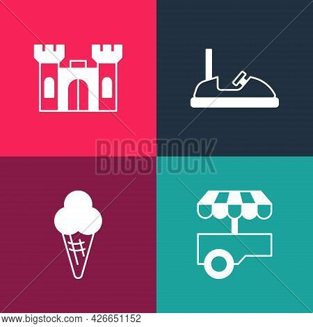 Set Pop Art Fast Street Food Cart, Ice Cream In Waffle Cone, Bumper And Castle Icon. Vector