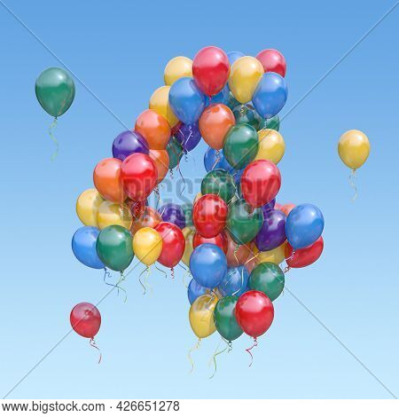 Number 4 four from balloons in the sky. Text letter for age, holiday, birthday, celebration. 3d illustration