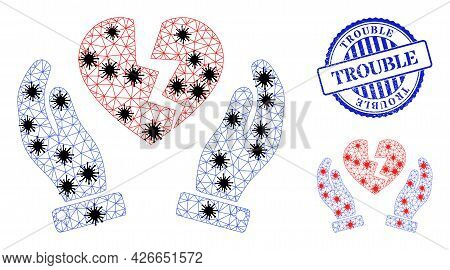 Mesh Polygonal Broken Heart Protection Hands Icons Illustration With Infection Style, And Rubber Blu