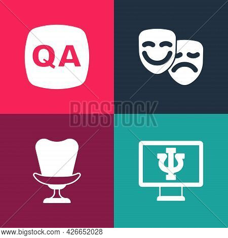 Set Pop Art Psychologist Online, Armchair, Comedy And Tragedy Masks And Question Answer Icon. Vector