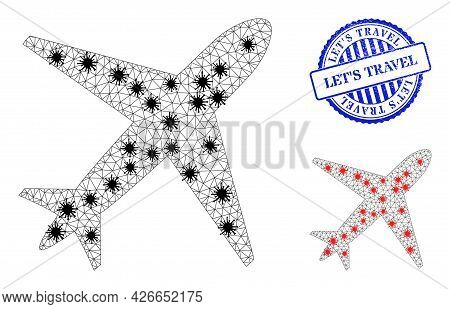 Mesh Polygonal Airplane Icons Illustration With Outbreak Style, And Distress Blue Round Lets Travel