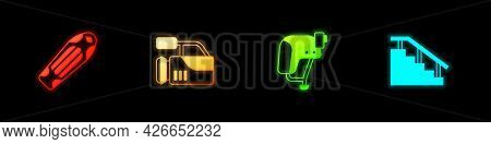 Set Skateboard Deck, Cinema Camera, Helmet And Stairs With Rail Icon. Vector
