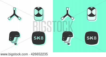 Set Skateboard, Y-tool, Helmet And Baseball Cap Icon. Vector