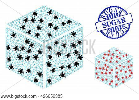 Mesh Polygonal Sugar Cube Icons Illustration With Infection Style, And Rubber Blue Round Sugar Badge