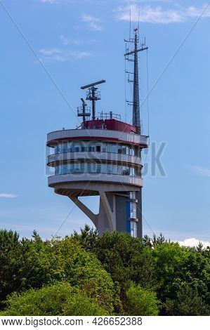 Swinoujscie. Control Tower Of Ships On A Sunny Day.