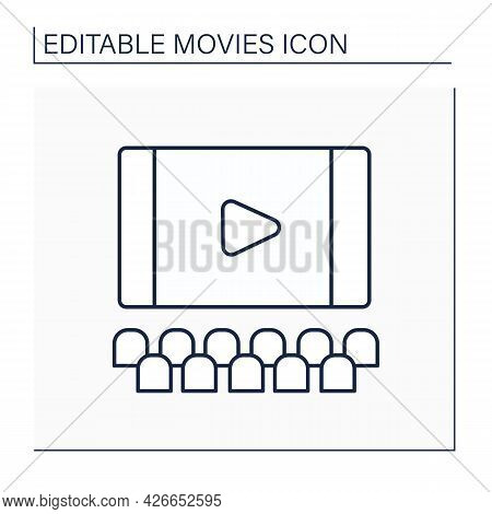 Screen Line Icon. Flat Surface In Cinema On Which Pictures Or Movies Are Shown. Ready To Show Premie