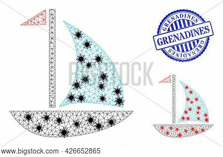 Mesh Polygonal Sail Boat Symbols Illustration With Infection Style, And Distress Blue Round Grenadin