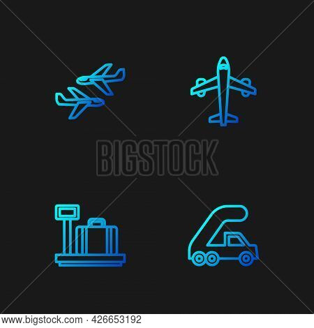 Set Line Passenger Ladder For Plane Boarding, Scale With Suitcase, Plane And . Gradient Color Icons.