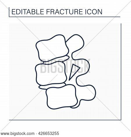 Fracture Dislocation Line Icon. Piece Of Bone Remains Jammed Between The Ends Of The Dislocated Bone