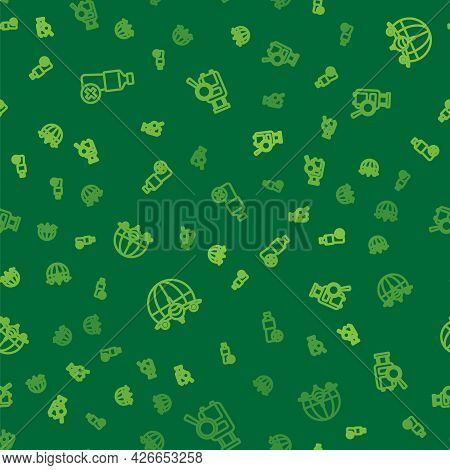 Set Line No Water Bottle, Globe With Flying Plane And Lost Baggage On Seamless Pattern. Vector