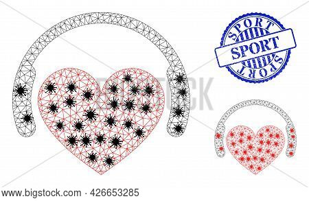 Mesh Polygonal Love Dj Icons Illustration In Infection Style, And Grunge Blue Round Sport Stamp Seal