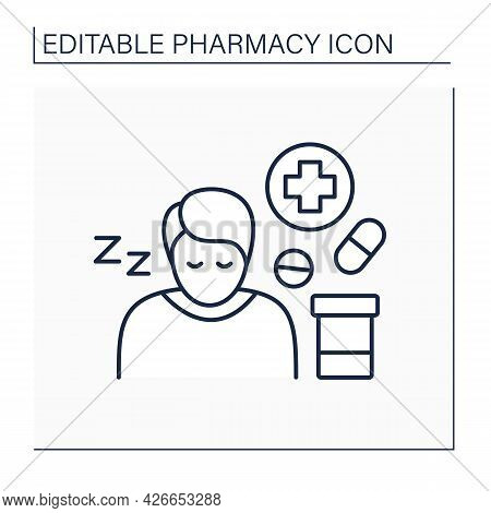 Side Effects Line Icon. Secondary Drugs Adverse Effect. Side Reaction On Pills. Drowsiness. Pharmacy