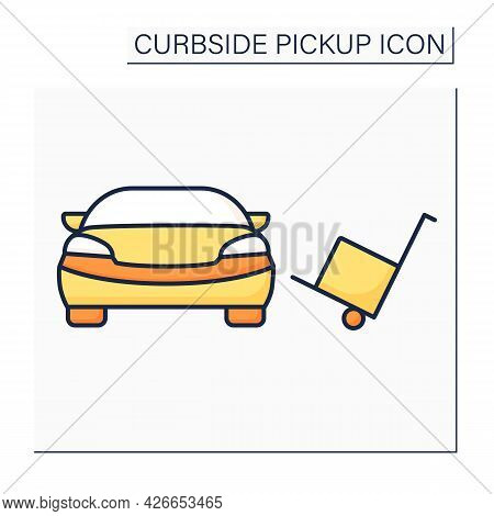 Curbside Pickup Color Icon. Contactless Cargo Obtaining. Delivery And Packing Big Order From Store T