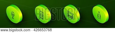 Set Isometric Line Glass Of Beer, Beer Can, Street Signboard With Pub And Bottle Icon. Vector