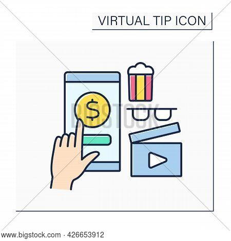 Cinema Color Icon. Online Tips For Cinema Services. Popcorn And Film Watching. Positive Review. Ente