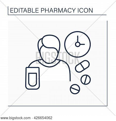 Dosage Line Icon.size Or Frequency Of Dose Of Medicine Or Drug. People Take Pills In Special Time Pe