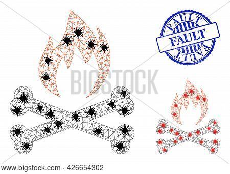 Mesh Polygonal Hell Fire Bones Icons Illustration With Outbreak Style, And Textured Blue Round Fault
