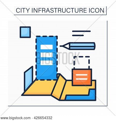 Planning City Color Icon. Technical Process Of Development And Design Of Land Use. House Plan. Home