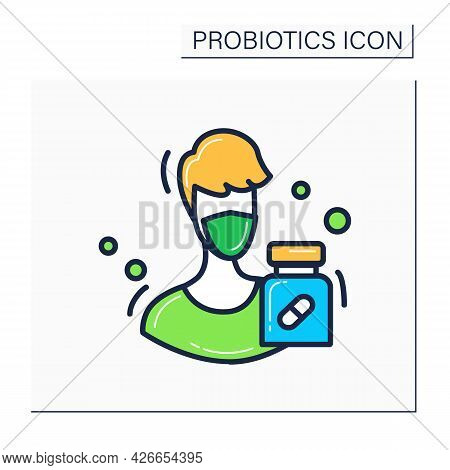 Influenza Protection Color Icon.probiotics Protect From Virus, Germs And Infection Wearing Mask Conc