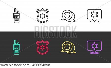 Set Line Walkie Talkie, Police Badge, And Hexagram Sheriff On Black And White. Vector