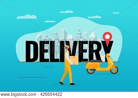 Delivery In Big City Banner. Courier And Loader Brought Cargo Goods Package Box On Motor Scooter. Fa