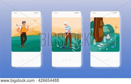 Senior Man Practicing Outdoor Golf Sport Game. Mobile App Screens, Vector Website Banner Template. U