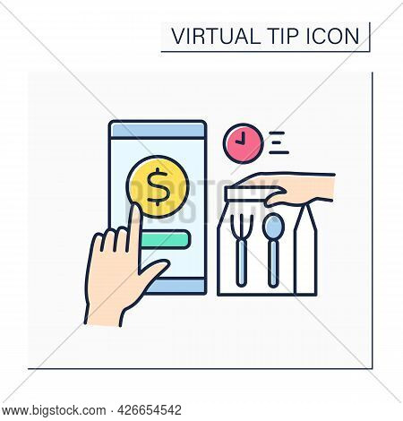 Delivery Color Icon. Donations For Fast And Safe Order Delivery. Online Tips. Virtual Tips Concept.