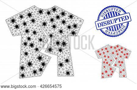 Mesh Polygonal Torn T-shirt Icons Illustration Designed Using Outbreak Style, And Grunge Blue Round