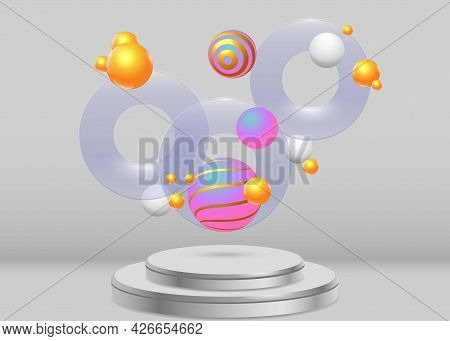 Realistic Scene With A Round Pedestal And Group Of Flying Objects. Transparent Discs And Colored Sph