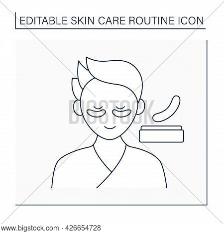 Cosmetology Line Icon. Eyes Patches For Puffiness And Dark Circles. Beauty Procedure.skin Care Routi