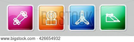 Set Line Longboard Or Skateboard, Skateboard Wheel, Y-tool And Park. Colorful Square Button. Vector