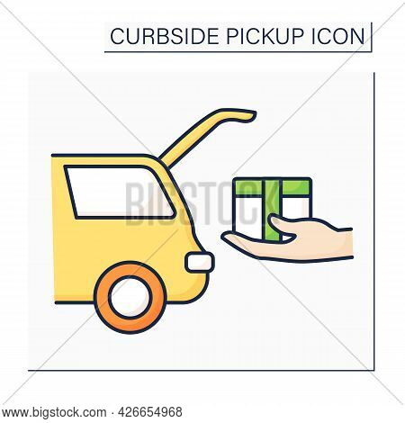 Curbside Pickup Color Icon. Shipping Parcel Into Car Trunk. Store Associate Brings Pickup Order. Con