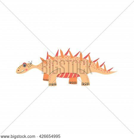 Cute Funny Dinosaurs Isolated On White Background.