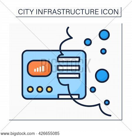 Air Pollution Sensor Color Icon. Device That Monitors Inside And Outside Environment Air Pollution L