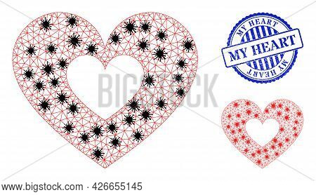 Mesh Polygonal Love Heart Icons Illustration In Outbreak Style, And Scratched Blue Round My Heart St