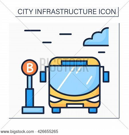 Bus Stop Color Icon. Bus Waiting For Passengers Outside. Urban And Suburban Transit. Outline Drawing