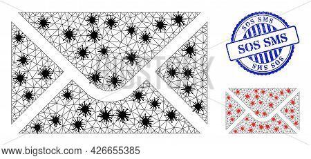 Mesh Polygonal Envelope Symbols Illustration Designed Using Lockdown Style, And Grunge Blue Round So