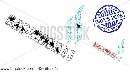 Mesh Polygonal Cigarette Smoke Symbols Illustration With Infection Style, And Distress Blue Round Dr