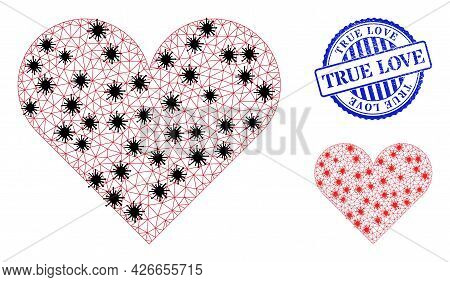 Mesh Polygonal Playing Card Heart Suit Symbols Illustration Designed Using Infection Style, And Dist