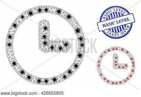 Mesh Polygonal Clock Symbols Illustration In Lockdown Style, And Rubber Blue Round Basic Level Stamp
