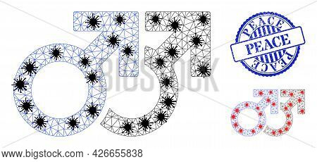 Mesh Polygonal Gay Couple Symbol Icons Illustration In Infection Style, And Distress Blue Round Peac