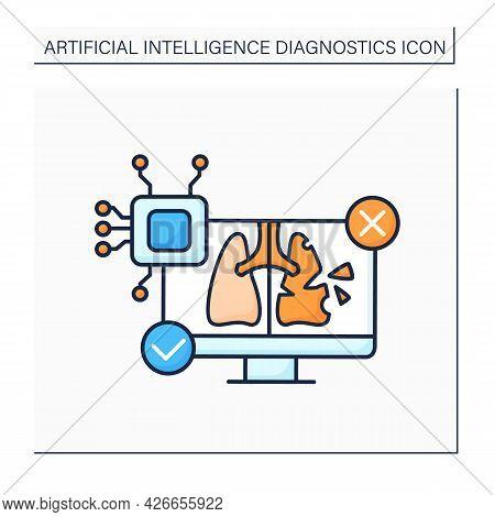Ai In Medicine Color Icon. Digital Technologies. Autonomous Lungs Diagnosis. Computer Screen. Ai Dia