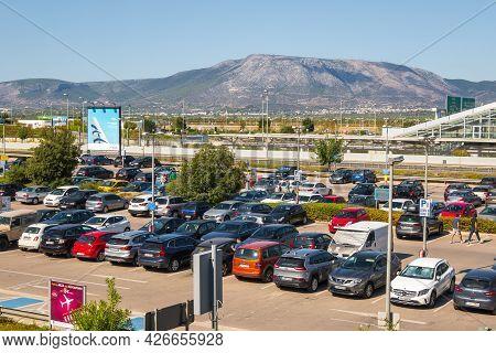 Athens, Greece - October 1, 2020: Short Term Parking At Athens International Airport
