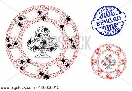 Mesh Polygonal Clubs Casino Chip Symbols Illustration In Lockdown Style, And Distress Blue Round Rew