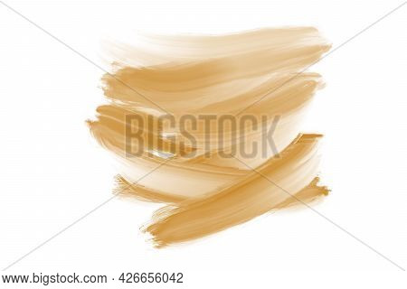 Brown Nature Watercolor Flick Brush Labels. Shapes On White Abstract Background. Hand Drawn Ink Wate