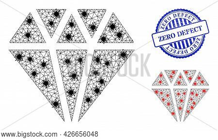 Mesh Polygonal Adamant Crystal Icons Illustration In Lockdown Style, And Grunge Blue Round Zero Defe