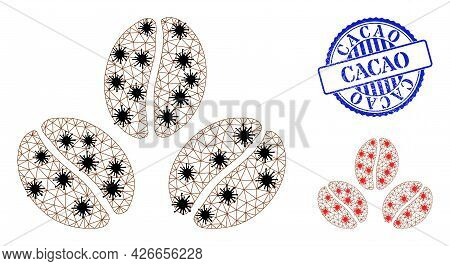 Mesh Polygonal Cacao Beans Icons Illustration In Lockdown Style, And Textured Blue Round Cacao Stamp
